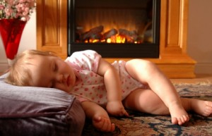 Welter Baby Sleeping by Fireplace