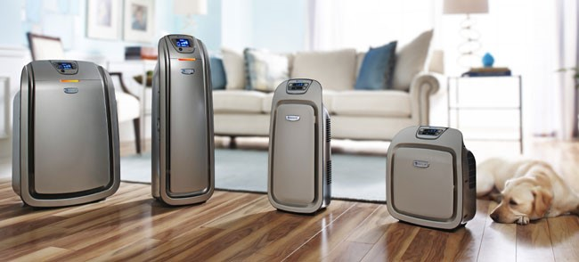 Types of Air Purifiers Lined Up on the Floor