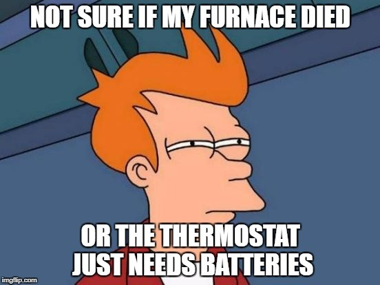 Not sure if my furnace died or the thermostat just needs batteries
