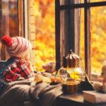 Child looks at fall scene