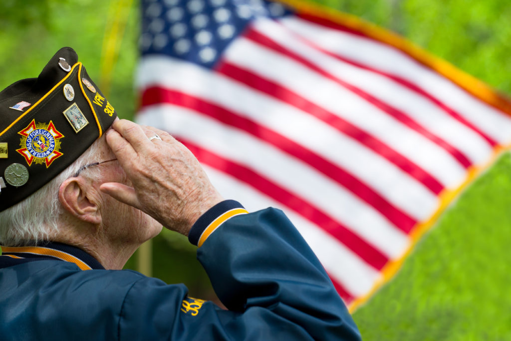 Veteran Saluting the Flag