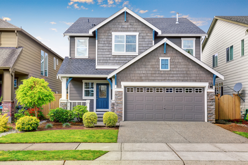 Common Suburban Home - Grey With White Trim