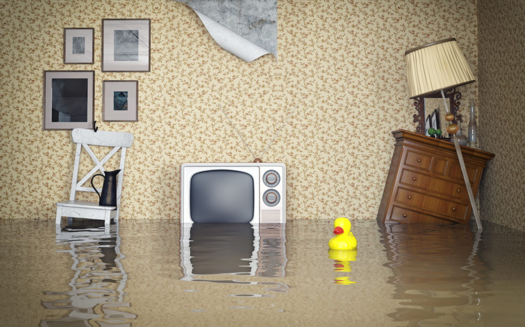 Photograph of a Flooded Living Room
